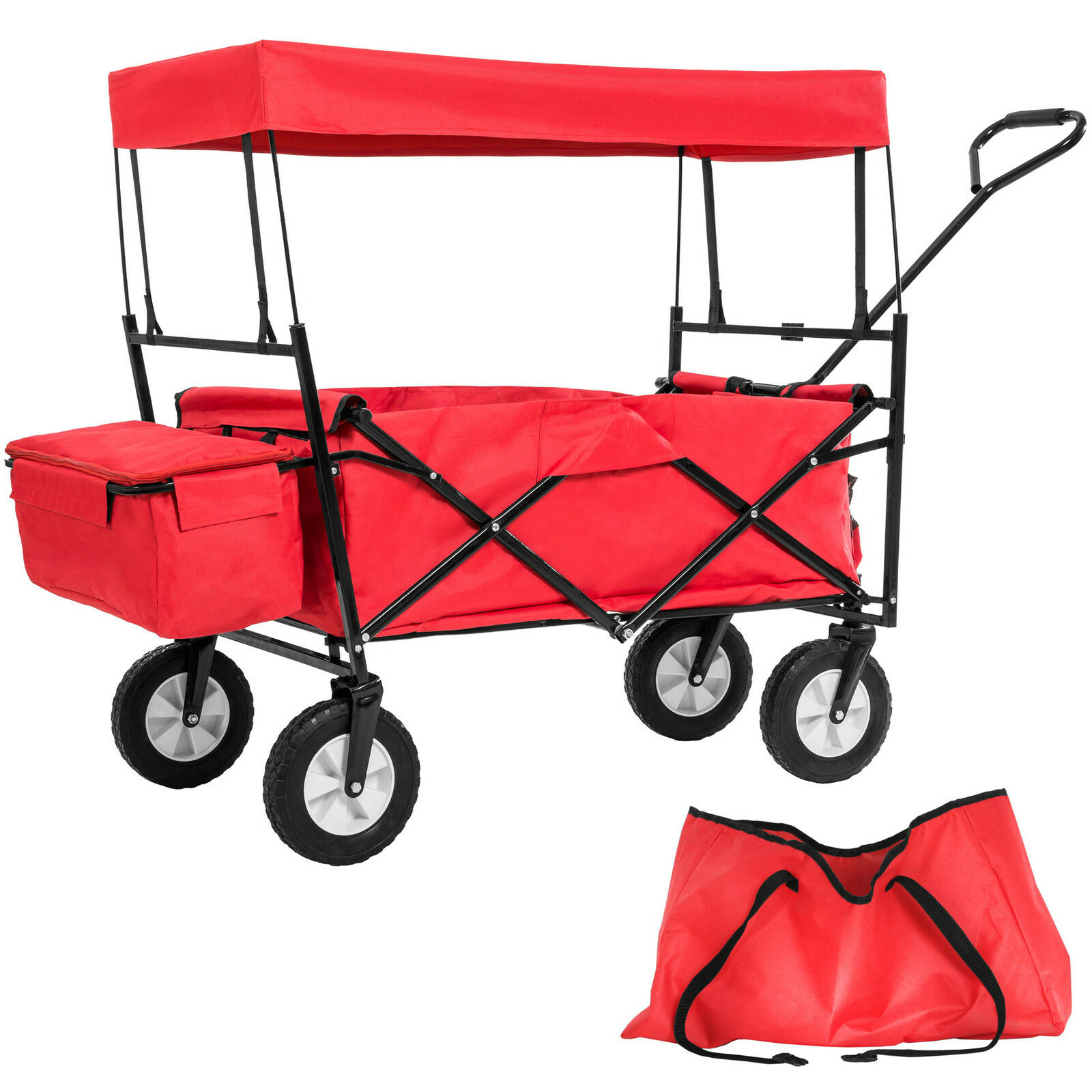 Chariot pliable avec toit en bâche charrette de transport à tirer de jardin roug