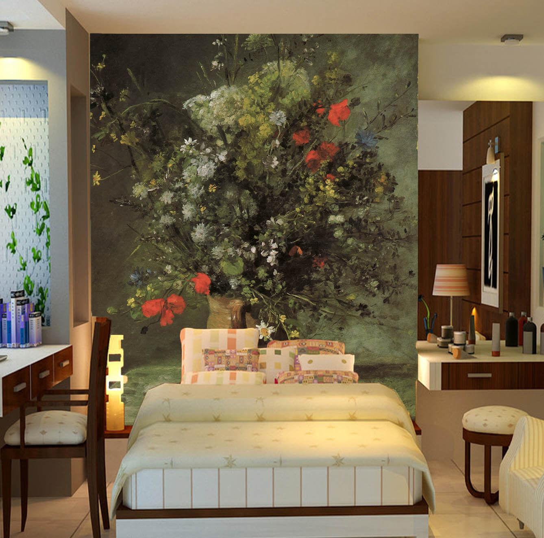 3D Green Leaf Vase 80 Wallpaper Mural Paper Wall Print Wallpaper Murals UK Lemon