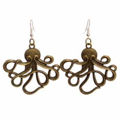 Steampunk retro earring punk vintage ethnic Octopus Octopus kraken pirate sailor unique bronze gear COG speed ball bearing