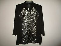 Travelers By Chico's Animal Sequin Zipper Jacket Chico's Size 3 (size 16)