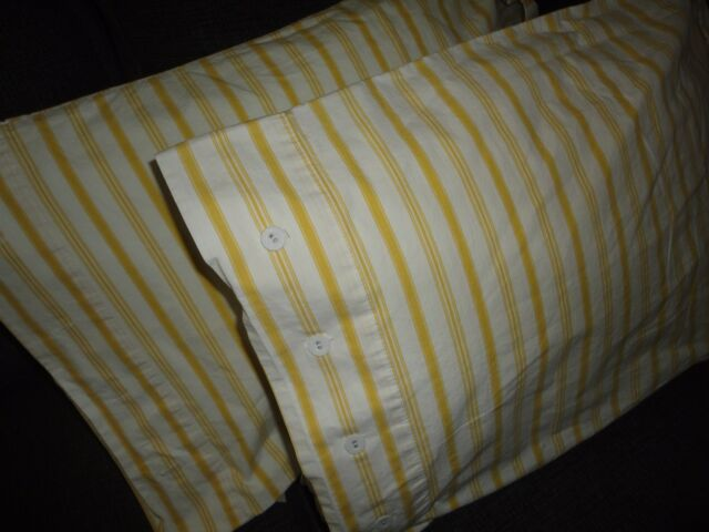IKEA ALVINE BAND YELLOW & WHITE TICKING (PAIR) KING PILLOWCASES SHAMS 19 X 36