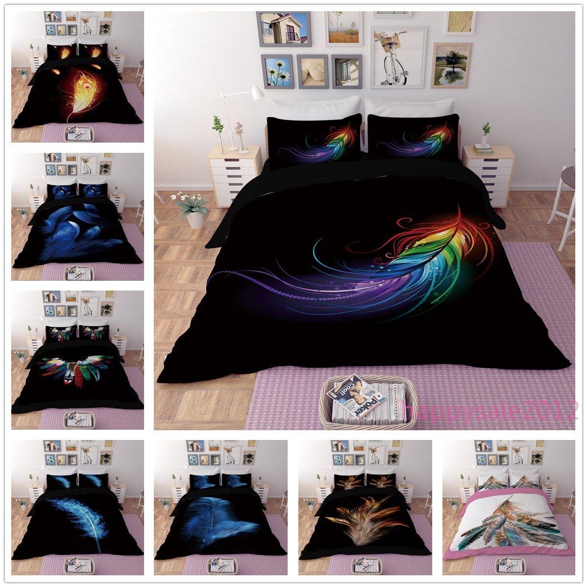 3D Phoenix Feather Quilt Cover Bedding Set Plumage Boho Duvet Cover Pillow Case