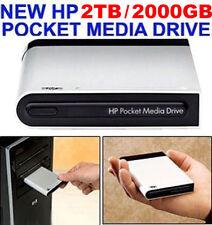 NEW HP 2TB / 2000GB POCKET MEDIA DRIVE USB EXTERNAL 2 YEAR WARRANTY  MSRP $799+