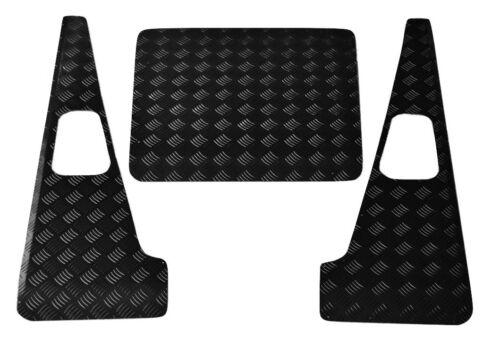 Defender Puma Set 2 mm Chequer Plate-Noir-Land Rover Bonnet /& Ailes