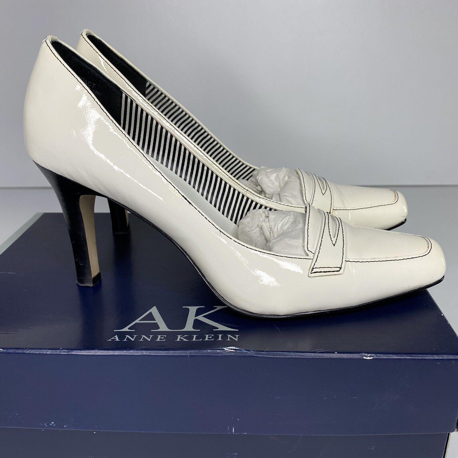 Anne Klein Womens Sz 7.5M AKImpact White Patent Leather Heels Shoes Pumps Box