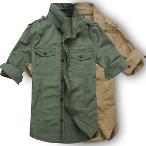 25e91a99aa Men s Casual Slim Fit Military Style Long Sleeve Cotton Khaki Cargo ...