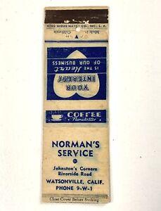 Circa 1940's Norman's Service Watsonville CA Matchbook, Johnston's Corner's