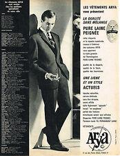 PUBLICITE ADVERTISING 064  1963  ARYA   vetements homme costumes