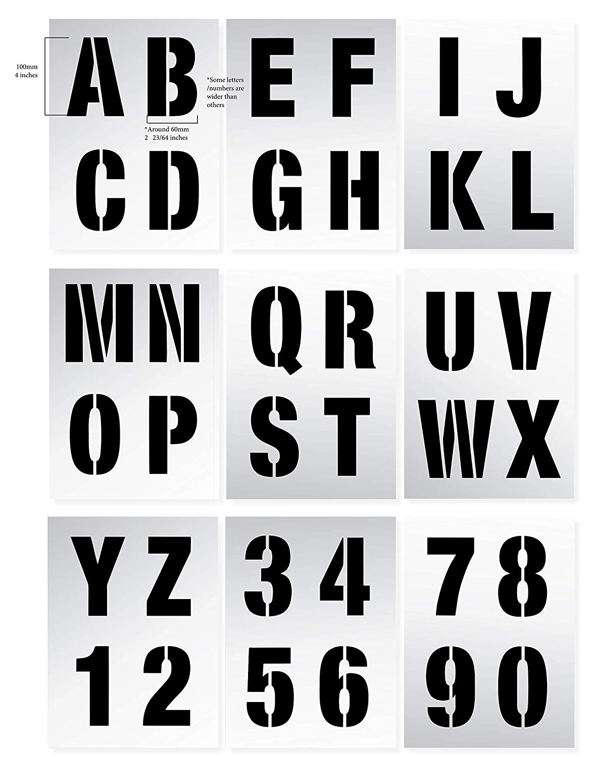 LETTER STENCILS 100mm tall 4 inch LARGE MODERN STYLE CAPITAL LETTERS Reusable /&