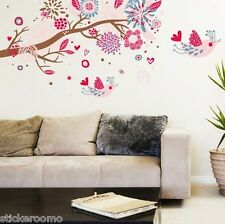 PINK FLOWERS TREE CHILDREN ROOM WALL ART STICKERS VINYL DECALS HOME DECORATION