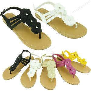 52159c543628bd Womens Flip Flops Sandals Cute Flower Thongs Flat Gladiator Style ...