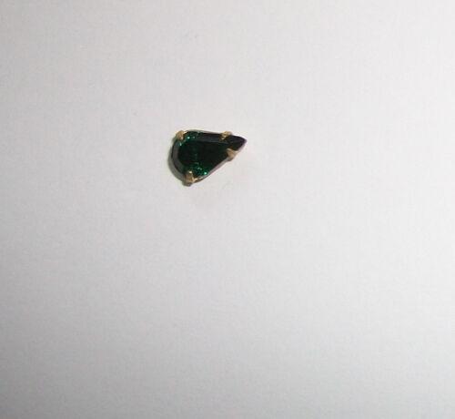 25Pc Swarovski 8x4mm Pear Preset Craft Repair Rhinestones Brass VTG