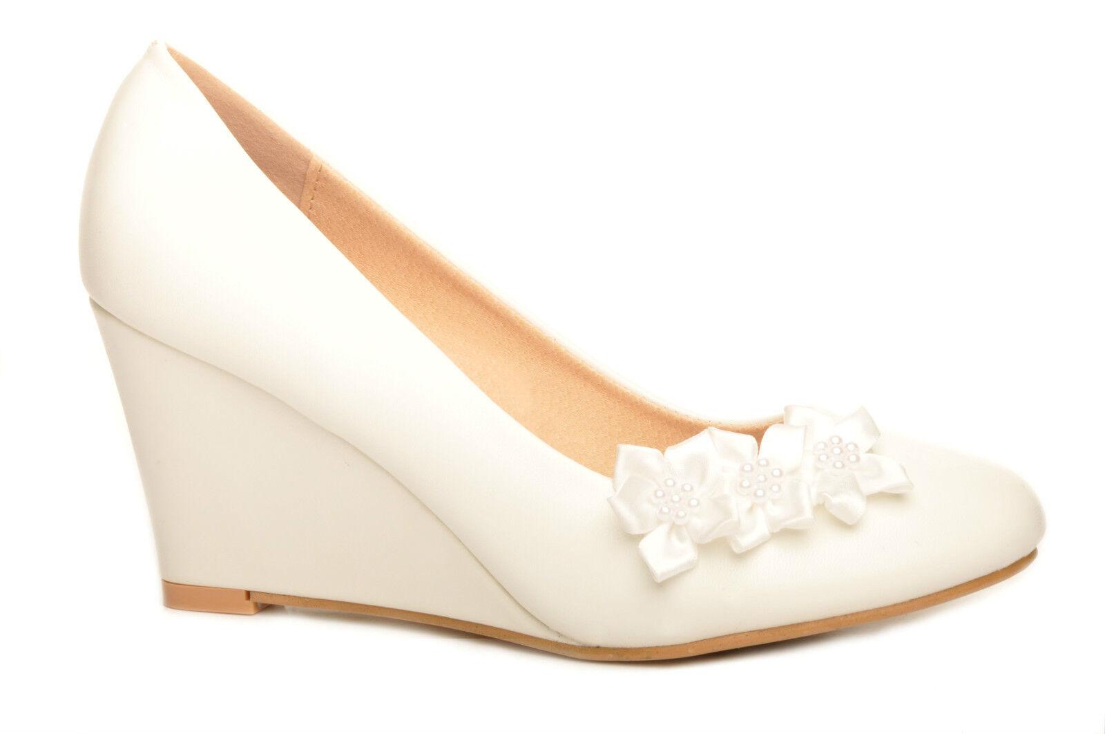 Off White Delicate Satin Flower Detail Wedge Bridal Wedding Heels
