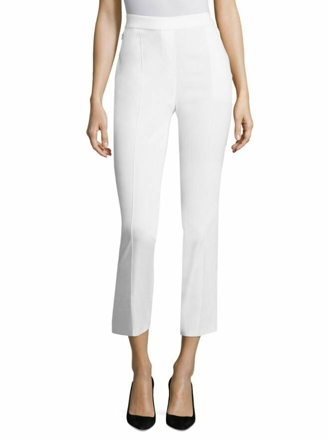 248 Elie Tahari White Linen Blend Arabella Cropped Ankle Pants NEW E591