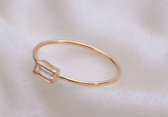 10K solid gold ring baguette diamond ring ,engagement ring wedding Unique ring