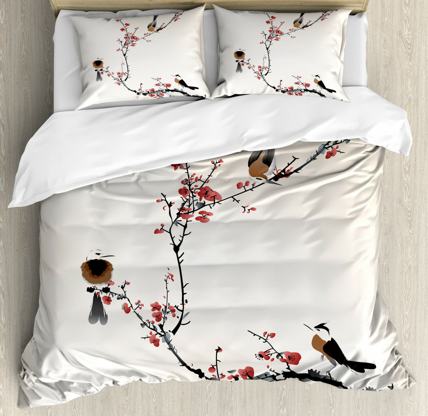 Tree Duvet Cover Set with Pillow Shams Oriental Artful Illustration Print