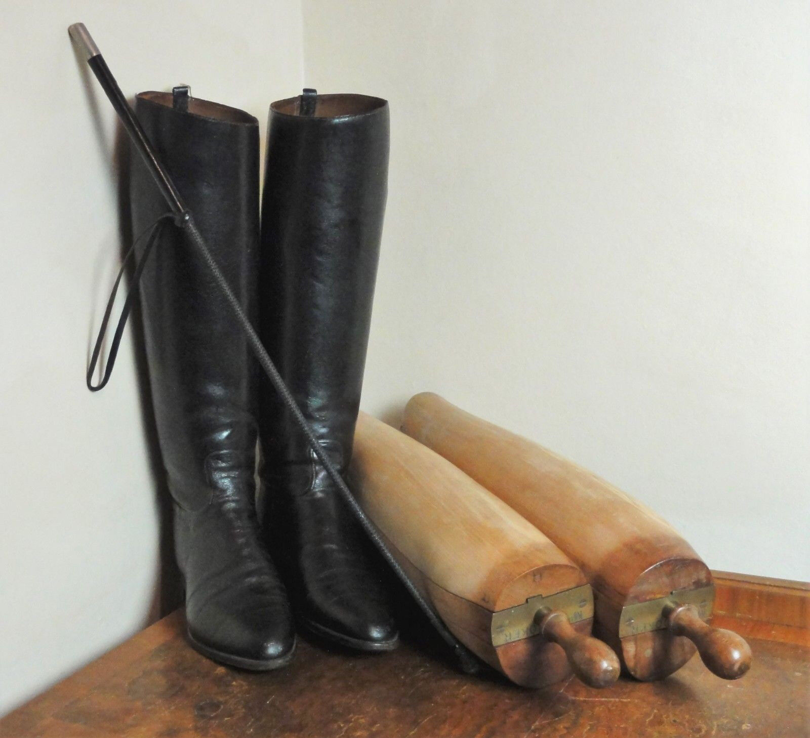 Vintage ANTIQUE Leather Hunting Boots + Wooden Trees + Riding Crop  Miss Hooker