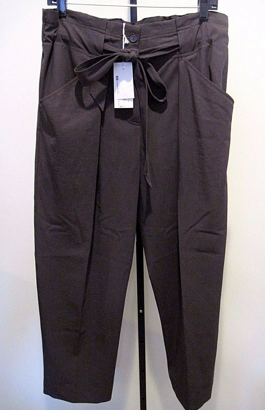 Athe Vanessa Bruno Tie Cropped Brown Wool Cotton Pants Size 40, NWT