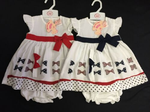 New Rock a Bye Baby Girls Bow Sailor Dress Red//White//Navy 3 Piece tenues 6-24 M