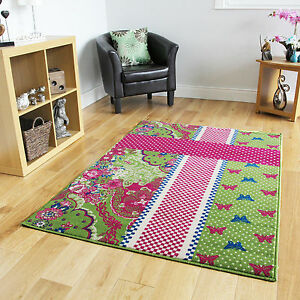 green pink blue butterfly modern rugs small large girls 17197 | s l300