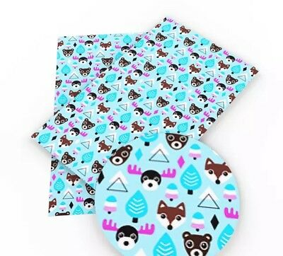 Pink /& blue baby owl faux leather sheet vinyl fabric full-1//2 sheet DIY hair bow
