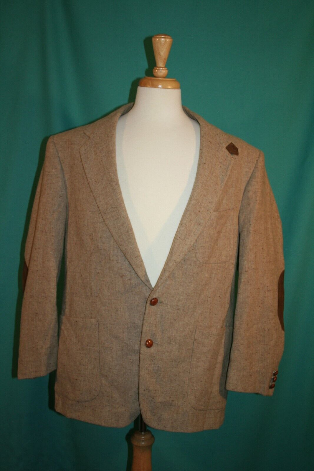 Stafford Country Collection Two Button Tweed Elbow Patch Sport Coat Blazer 48R