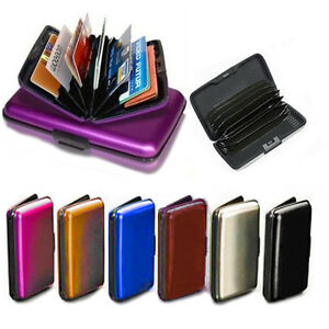 check out c2fb5 b8b19 Details about Credit Card Holder Aluminium Organizer Wallet Purse Snap Lock  Protect Metal Case