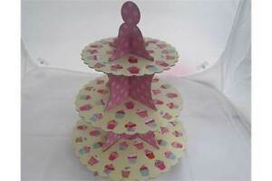 3-tier-cup-cake-stand-x2-pack-muffin-pretty-display-platter-party-PINK-3-layer