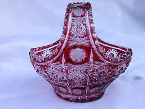 """VINTAGE BOHEMIA GOLD RUBY QUEEN LACE 24% LEAD HAND CUT CRYSTAL BASKET 6"""""""