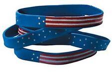 Pack of 12 - USA Rubber Patriotic Flag Bracelets - Party Bag Fillers