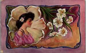 Young-Lady-with-Iris-motiff-pink-background-1910-Vintage-Postcard-AA-004