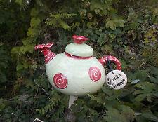 Gartenstele    Garten Deko Kanne in erdbeere mit Schild   Keramik