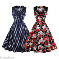 Women's Ladies Evening Party Swing 50s 60s Vintage Floral Style Rockabilly Dress