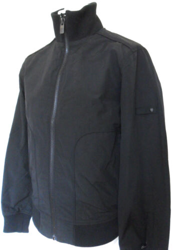 BEN SHERMAN Coat Mens Biker Jacket Zipped Funnel Neck Clay Black Size XXL