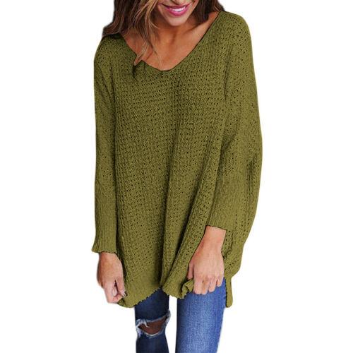 Womens One Off Shoulder V Neck Sweater Casual Pullover Jumper Kintwear Loose Top