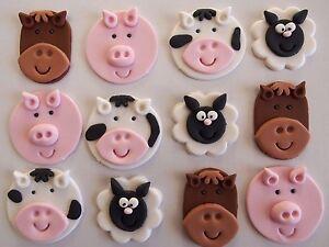 Fantastic 12 Farm Animal Edible Cupcake Toppers 1St Birthday Cake Horse Cow Funny Birthday Cards Online Benoljebrpdamsfinfo