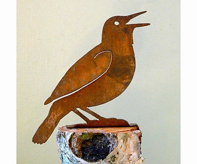 Rusty Metal Meadowlark Bird Silhouette Accent for Inside or Out,Porch,Fence