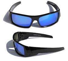 Men Gloss black Polarized sunglasses with Blue Mirror Lens fishing anti-glare