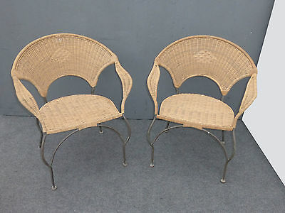 Pair Vintage Rattan Wicker Style Wrought Iron Metal Arm Chairs Ebay