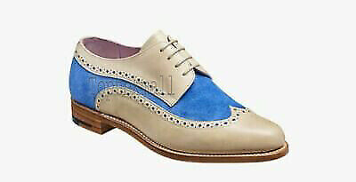 Handmade Women's Leather White & Blue Suede Oxford Brogue Wingtip Shoes-908