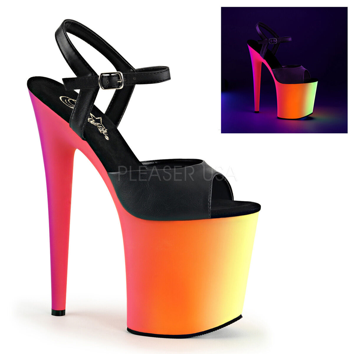 PLEASER Sexy Blacklight Neon Rainbow Rainbow Rainbow Platform 8  High Heel Stripper Dancer shoes 230cad