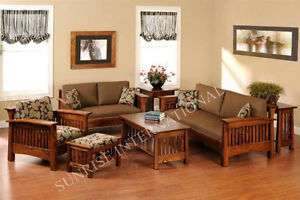 Contemporary Wooden Sofa set with 1 Center Table (SUN-WSS177)