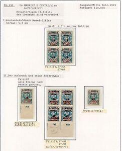 Memel-Nr-136-Studie-auf-2-Albenseiten-in-Einheiten-PLATTENFEHLER-C0218