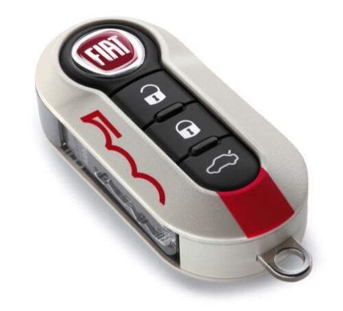 New /& Official Fiat 500 Abarth IVORY Red Two piece replacement key cover