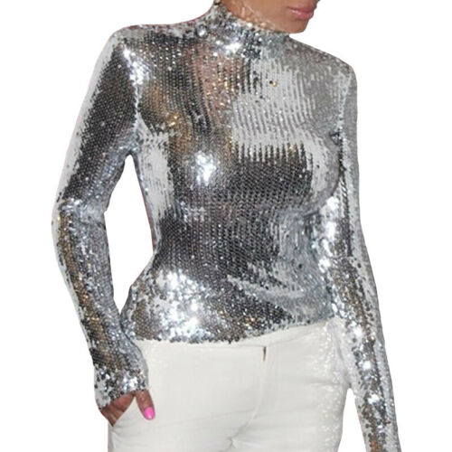 NEW Stylish Women/'s Long Sleeves Sequins Patchwork Casual Pullover Tops Blouse