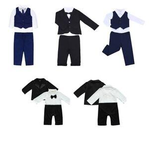 3-4Pcs-Kids-Baby-Boys-Gentleman-Tuxedo-Wedding-Outfits-Top-Shirt-Pants-Vest-Set