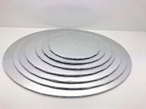 Quality-Silver-Round-Cake-Display-Boards-Foil-Turned-Edge-2mm-Thick-ALL-SIZES