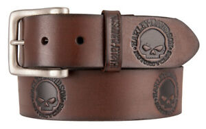 Harley Davidson Mens Willies World Willie G Leather Embossed Belt Brown