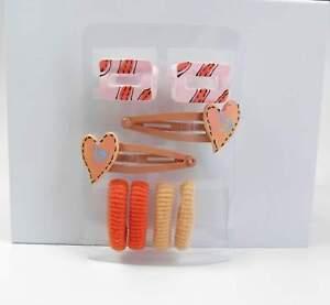 Begeistert Neu Set 4 Haargummis 2 Haarklammern 2 Haarclips In Rosa/lachs/orange Haarschmuck Einen Einzigartigen Nationalen Stil Haben
