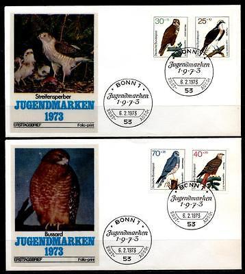 Greifvögel. Fischadler, Mäusebussard, Rotmilan, Wiesenweihe. 2 Fdc(1). Brd 1973 Weitere Rabatte üBerraschungen